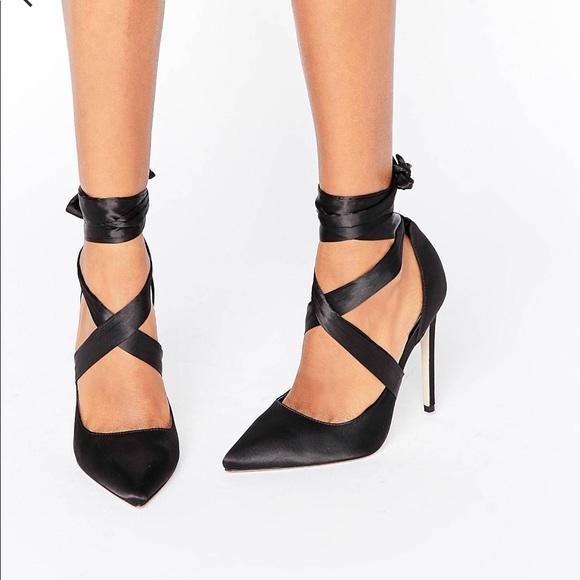 PINOT Satin Lace Up Heels - Black satin Asos k21pcj0QKf